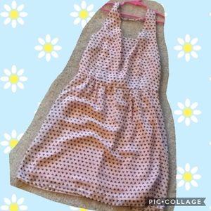 Forever 21 XXI pink brown heat polka dot dress Med